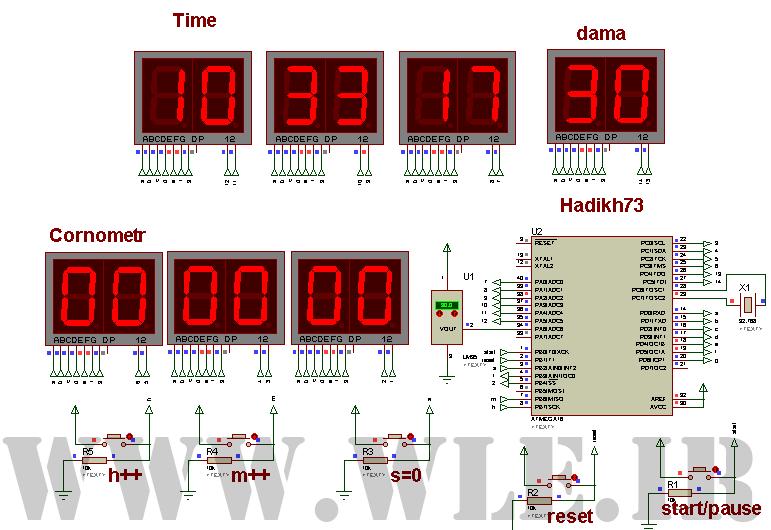 پروژه ساعت همراه با کرنومتر و دماسنج